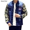 Camuflagem manga splicing dos homens denim casaco jaqueta de algodão marca casual mens jaqueta jeans azul escuro masculino mens clothing moda 823