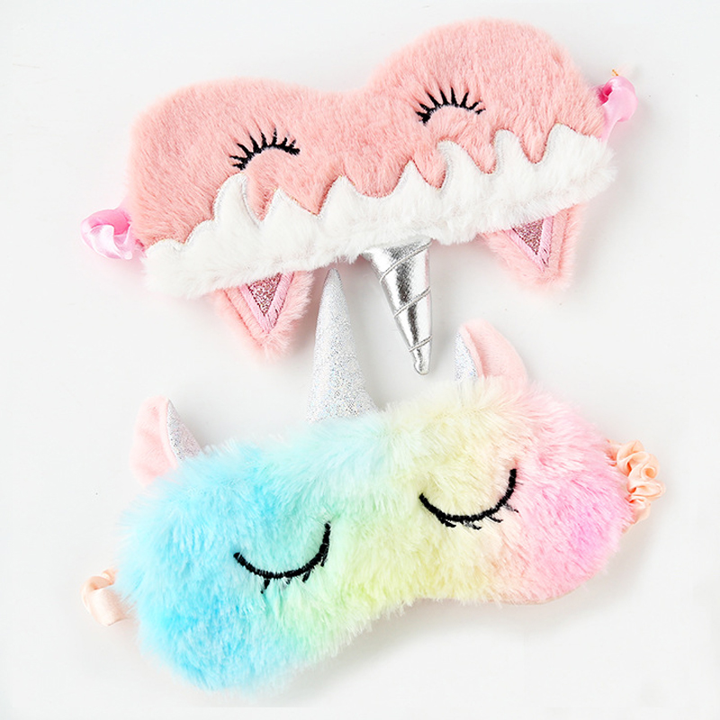 1 PCS Eye Mask Unicorn Cartoon Sleeping Mask Plush Eye Shade Cover Eyeshade Relax Masks Suitable For Travel Home Party Gifts Toy