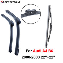 SLIVERYSEA Front and Rear Wiper Blade no Arm For Audi A4 8E/8H (B6) 2000-2006 High Quality Natural Rubber Windscreen kit