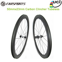 Farsports carbon wheelset 50mm deep 23mm 25mm tubeless aero u shape carbon clincher rims UD matte high temp resin braking track