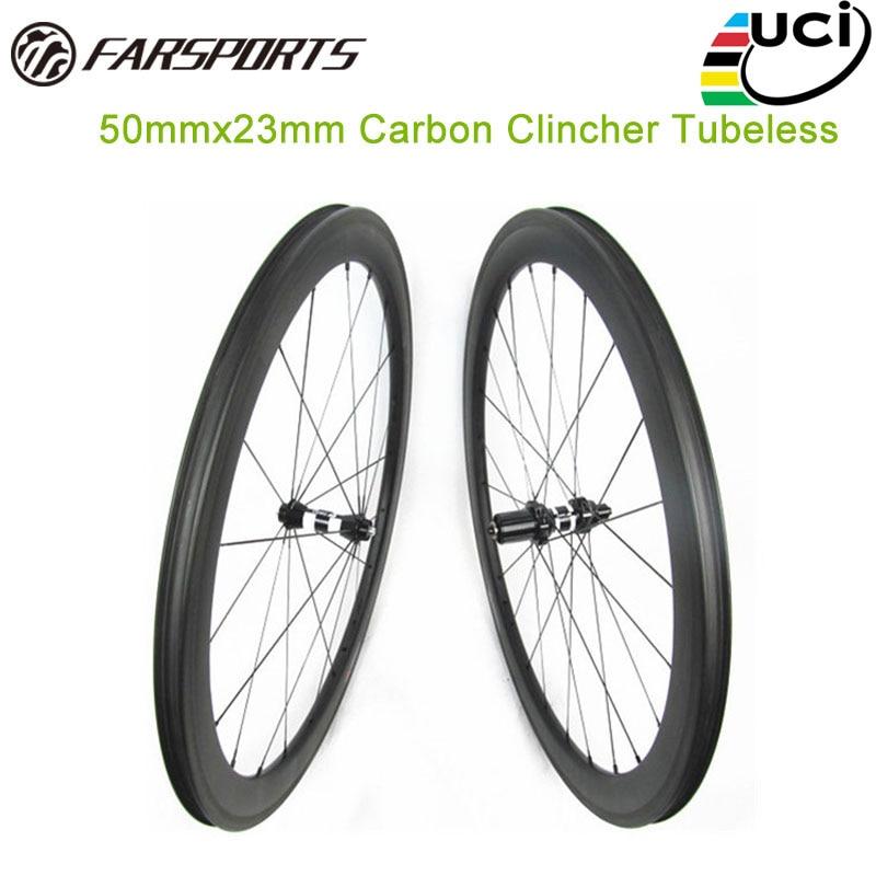 Farsports carbon wheelset 50mm deep 23mm 25mm tubeless aero u shape carbon clincher rims UD matte high temp resin braking track