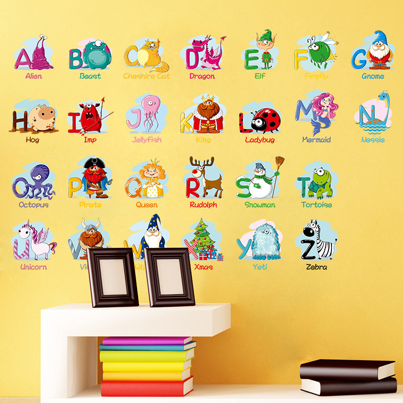 Cartoon Alphabet Wall Stickers A Z English Letters Home Decoration ...