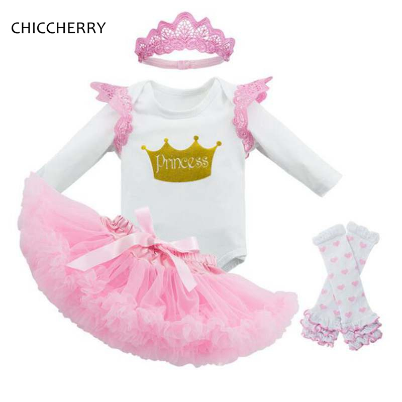 Pink Baby Girl Clothes Set Princess Crown Bodysuit + Lace Headband Party Tutu Skirt Ensemble De Bebe 1 & 2 Years Birthday Outfit 2pcs per set hot pink baby girl crown tutu infant 2nd birthday party outfit romper bubble skirt baby girls second birthday dress