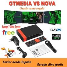 Full HD Gtmedia v8 nova DVB-S2 FTA спутниковый ресивер Freesat v8 с европейской Cline на 2 года поддержка H.265 встроенный WiFi