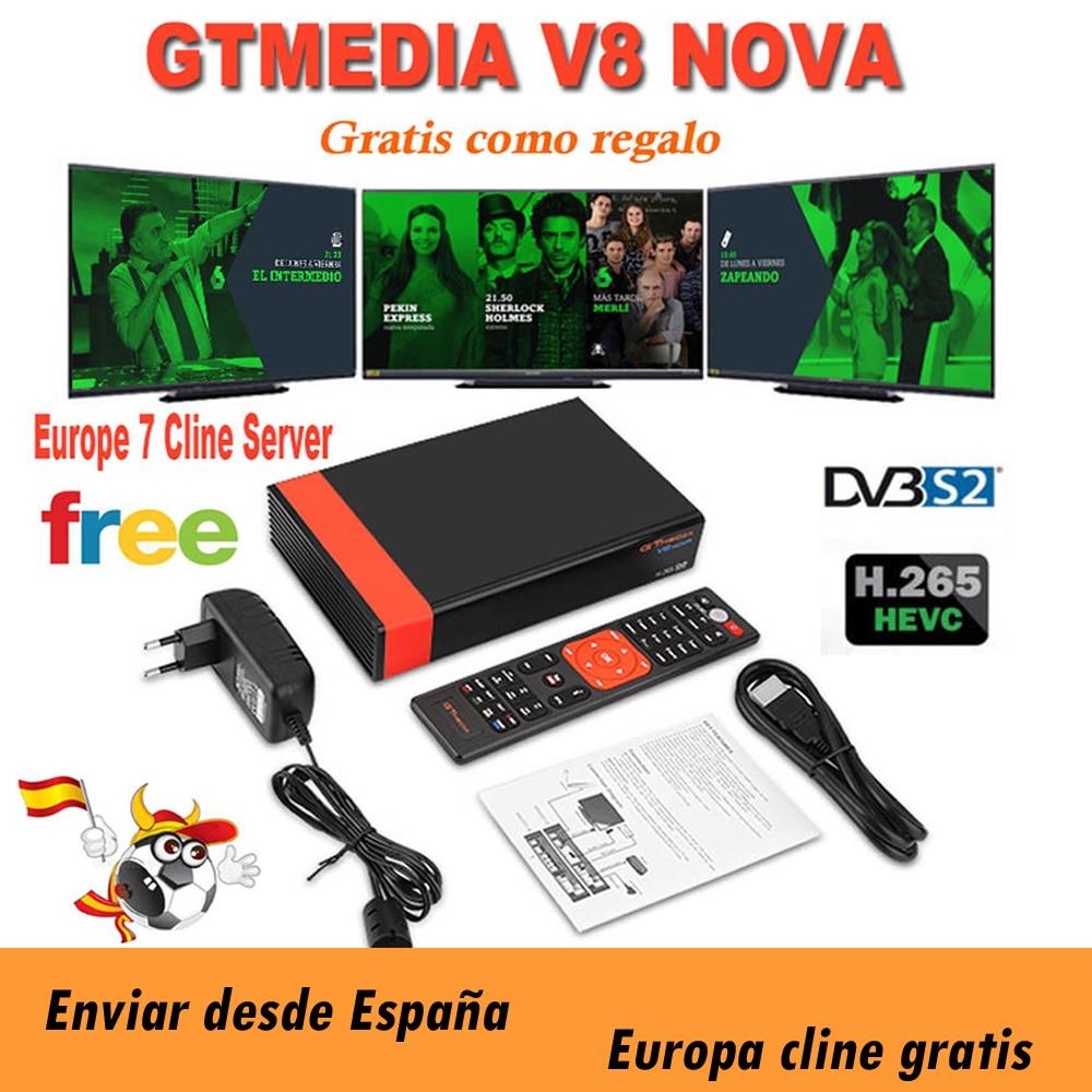 Gtmedia v8 nova DVB-S2 fta спутниковый ресивер Freesat v8 с Европой Cccam 7 линий для 1 год Поддержка H.265 Встроенный Wi-Fi