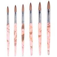 KBA-612Oval Колонок Соболь волос Акриловая ручкой латунь наконечник ногтей Макияж art Косметические кисти для макияжа для маникюра