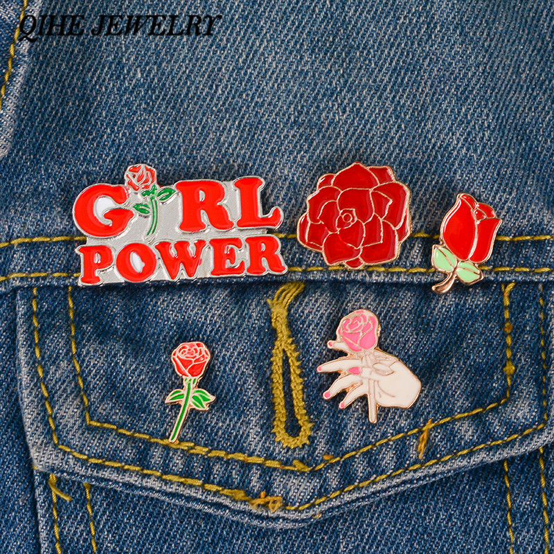 QIHE ювелирные изделия заколки с розами коллекция ~ с красными цветами, розовый цветок орхидеи шпильки эмаль на булавке значок на лацкан брошь...