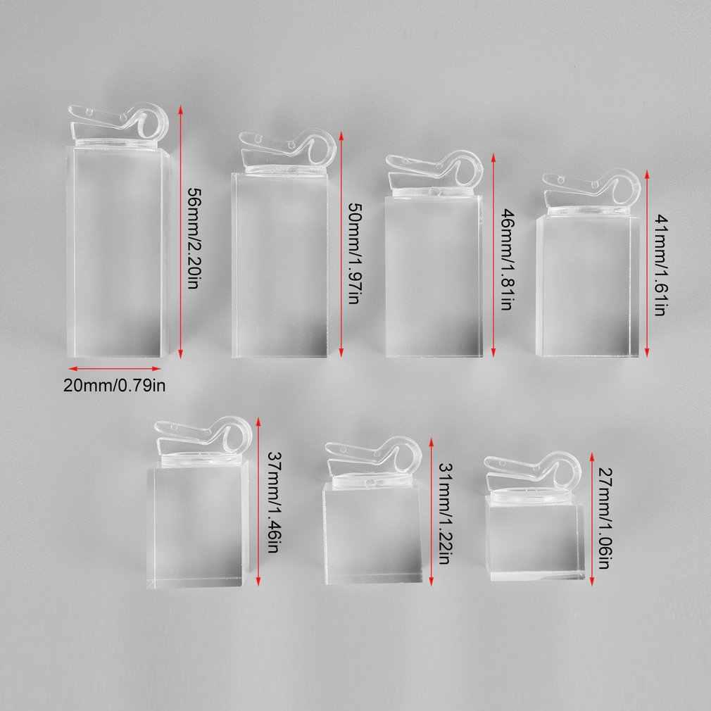 7 قطعة/الحزمة واضح مربع أسفل شبكي التخزين المنظم خواتم عرض موقف حامل معرض مجوهرات