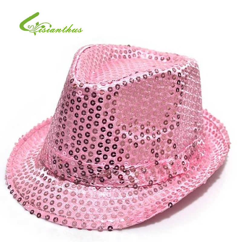 6fe870399cf Kids Shiny Sunhat Children Boy Girl Stage Show Hat Fascinator Party Costume Fashion  Sequins Fedora Hat