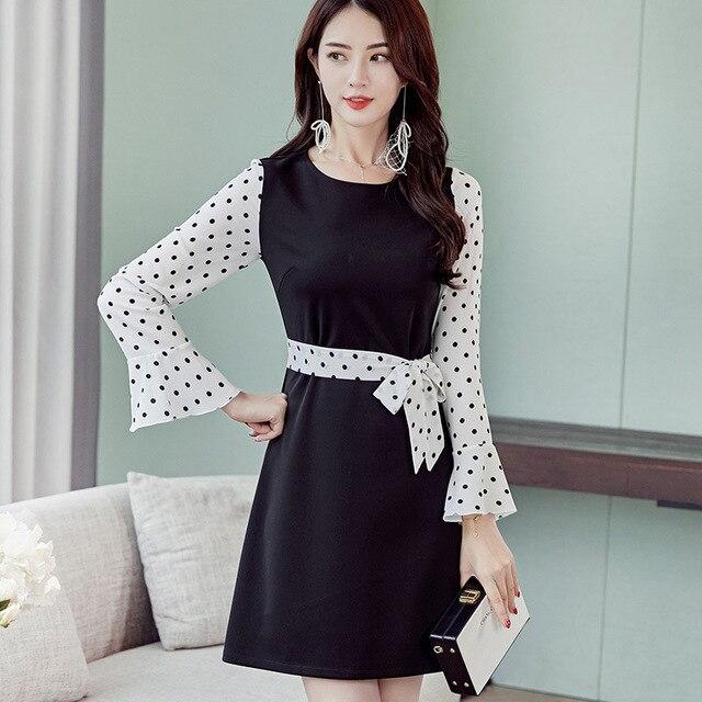 06e6202a7b277 2018 Autumn Women s Dress O-neck Print Polka Dot Ruff Long Sleeve Casual  Dresses Slim Waist A-line Mini Dress