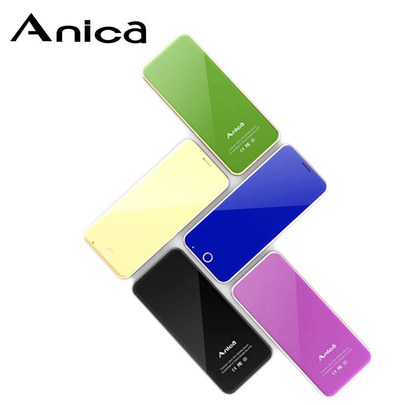 Anica A16 Mini Téléphones Cellulaires, 1.54 Carte de Crédit Taille Bluetooth Dialer mini Celular Fone, dual SIM big Sound Musique Telefone Celular