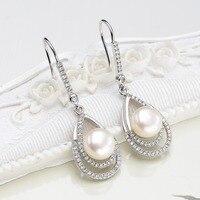 Bella 925 Sterling Silber Teardrop Braut Ohrringe Kubikzircon 9 MM Süßwasser-zuchtperlen Ohrringe Hochzeit Schmuck