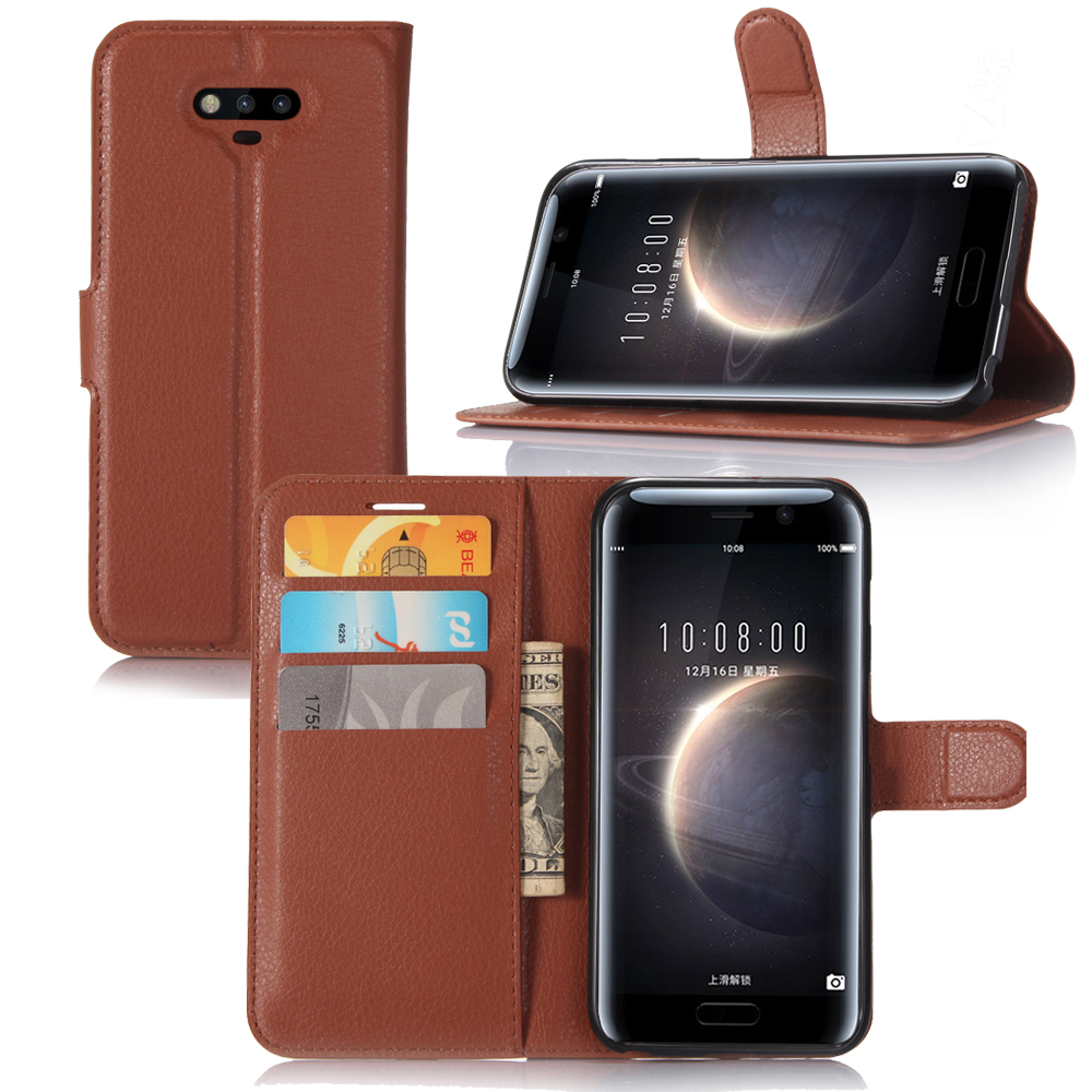 Original PU Leather Wallet Case For Huawei Honor Magic Phone Bag Cover With Stand Function For Movie And Credit Card Slot Brown