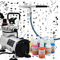 Complete Professional Airbrush Nail Kit with AB-136 Airbrush, Colopaint Compressor, Colors and Nail Stencil