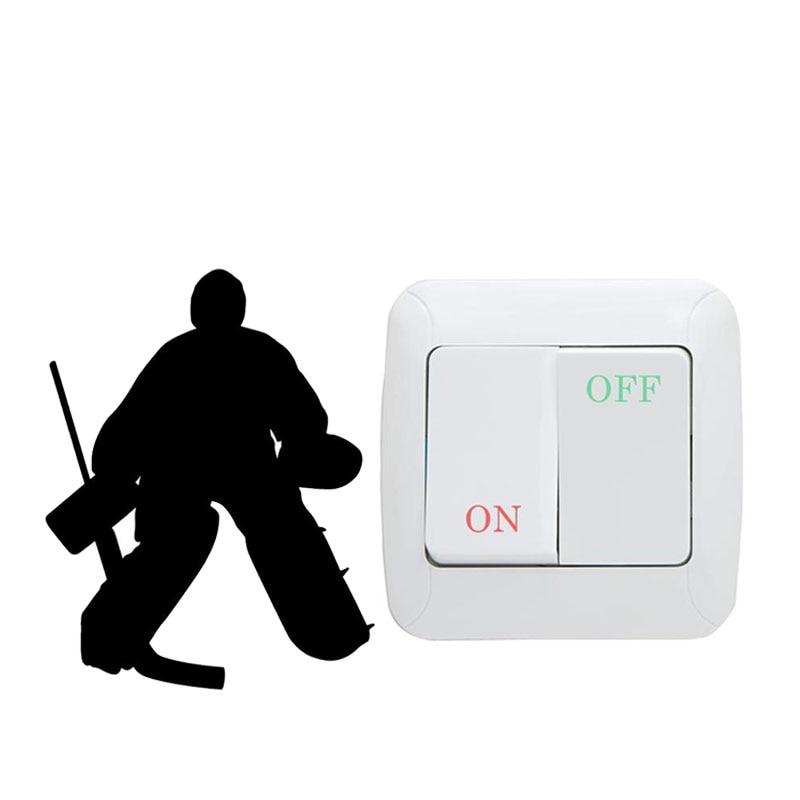Hockey Goalie Cartoon Vinyl Switch Sticker Home Room Decor Decals