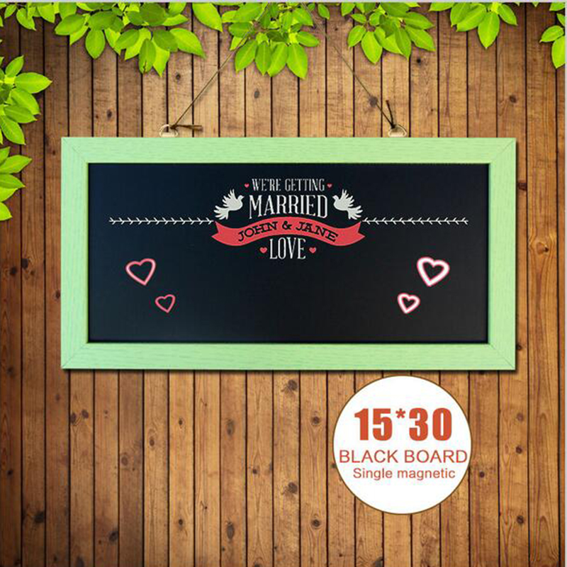Free shipping Chalkboard New MDF Wood Frame Magnetic Blackboard Dry Wipe Chalkboard Memory Board 15*30cm With Free Accessories