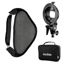 цены Godox S-Type Speedlite Bracket Bowens Mount Holder + 80 x 80cm Softbox for Studio Photography