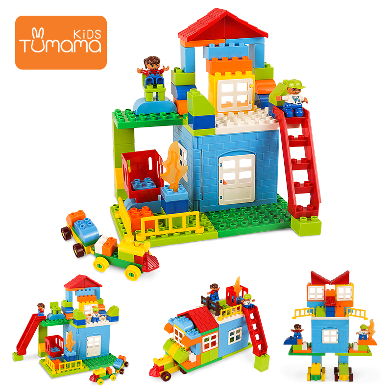 Tumama Building Construction Toys 76PCS Changeable DIY Block Compatible Legoed Duploed Castle Model Building Tool Sets For Kids