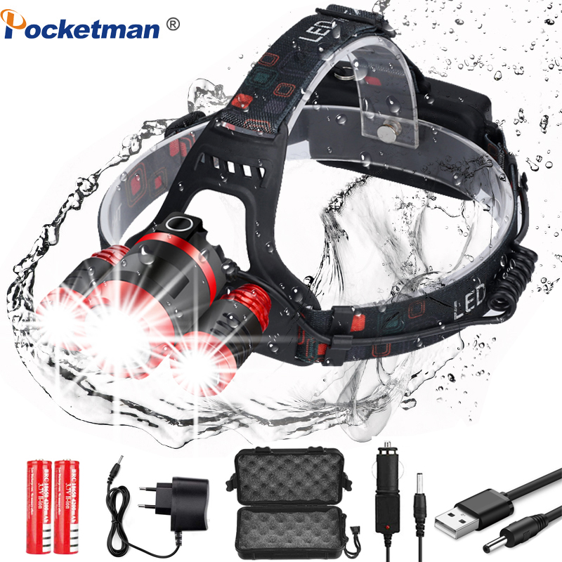 5000LM Headlight Strong Light 3*T6 LED Headlamp Zoom Head Lamp Fishing Lighting Bicycle Light Flashlight Torch Lantern Camping