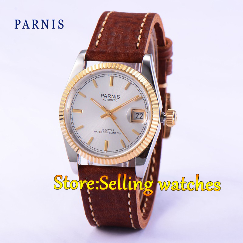 36mm Parnis silver dial Sapphire glass 21 jewels Miyota 821A Movement automatic women watch