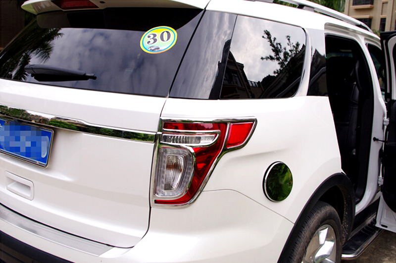 Exterior Chrome Rear Light Taillamps Cover Trim 2pcs For Ford Explorer 2011 2012 2013 2014 diy car 3d explorer fixed letters hood emblem chrome logo badge sticker for 2011 2012 2013 2014 2015 2016 ford explorer sport