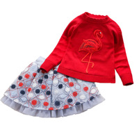 Children`s Winter Clothes Set Girls Sweater+lace Skirt 2pcs Suit Girls Animal Thicken Velvet Princess Shcool Clothing for 7y 12y