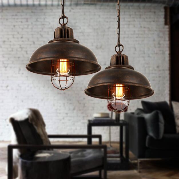 Amerikaanse Dorp Industriële Retro Schaduw Single-head Hanglamp Iron Bar Tafel Restaurant Persoonlijkheid Loft Hanglamp