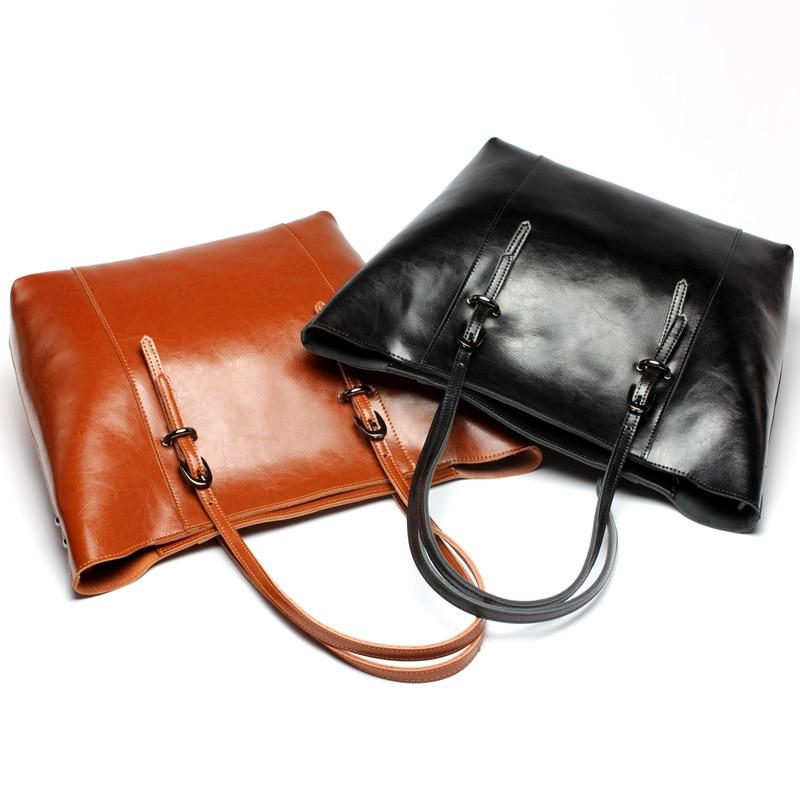 ФОТО Fashion Women Handbag Oil Wax Leather Women Bag Large Capacity Tote Bag Big Ladies Shoulder Bags