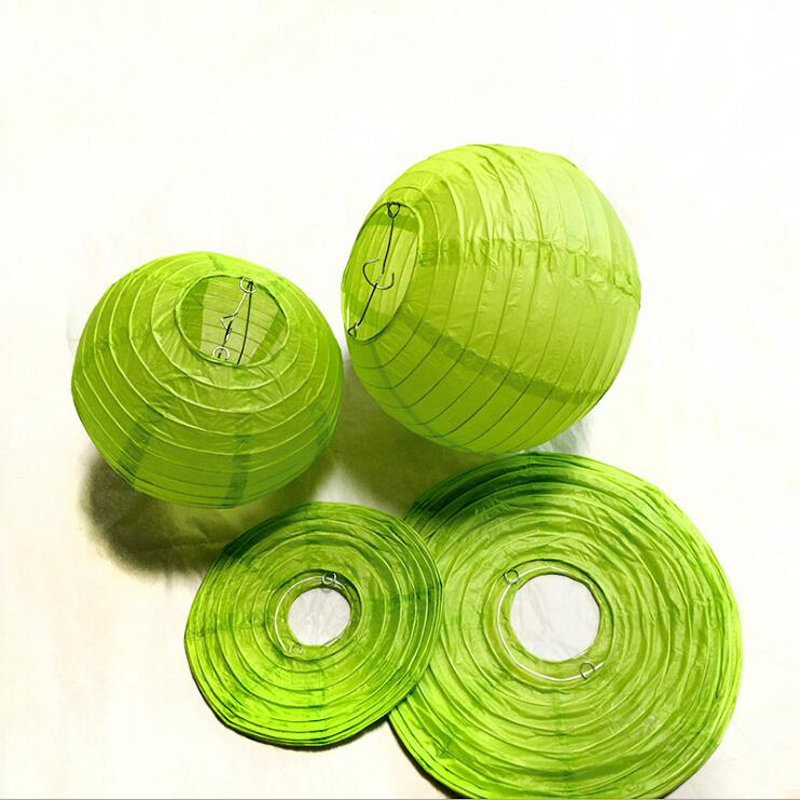 Light green Chinese Paper Lanterns 15-20-25-30-35-40cm for Wedding Event Party Decoration Holiday Supplies Paper Ball
