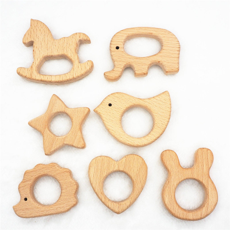 Chenkai 50pcs Wooden Teether DIY Organic Eco friendly Nature Wood Baby Teething Pacifier Grasping Montessori Toy