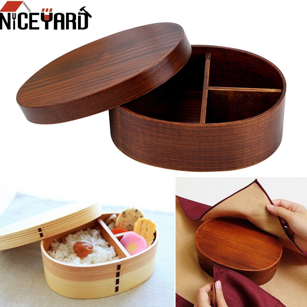 NICEYARD 1 Layer 3 Grids Portable Picnic Bento Boxes Food Container <font><b>Wood</b></font> <font><b>Lunch</b></font> <font><b>Box</b></font> Tableware Kitchen Tools Home Supplies image
