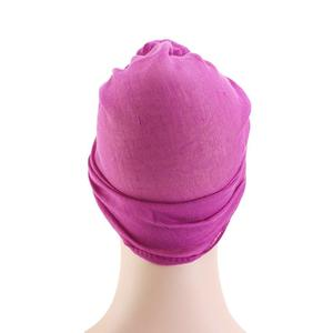 Image 5 - Gorro para quimio con nudo para mujer, gorro para la caída del pelo, Hijab musulmán, sombreros de turbante largo, pañuelo para la cabeza, bufanda árabe islámica, nudo de Color sólido 180*70cm
