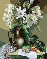 MaHuaf-i518 Lily flor uva Still life pintura por números sobre tela DIY Europa decoração da lona da pintura a óleo para sala de estar