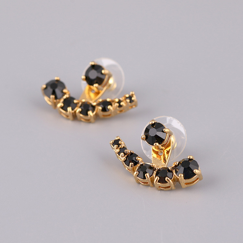 Simple Elegant Unique Noble Black White Gem Stud Earrings For Women Lady Party Prom Jewelry