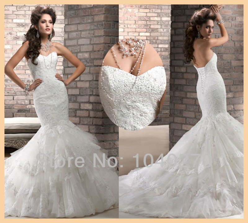 Classy Mermaid Floor Length Long Lace Tulle Wedding Dress Fishtail ...