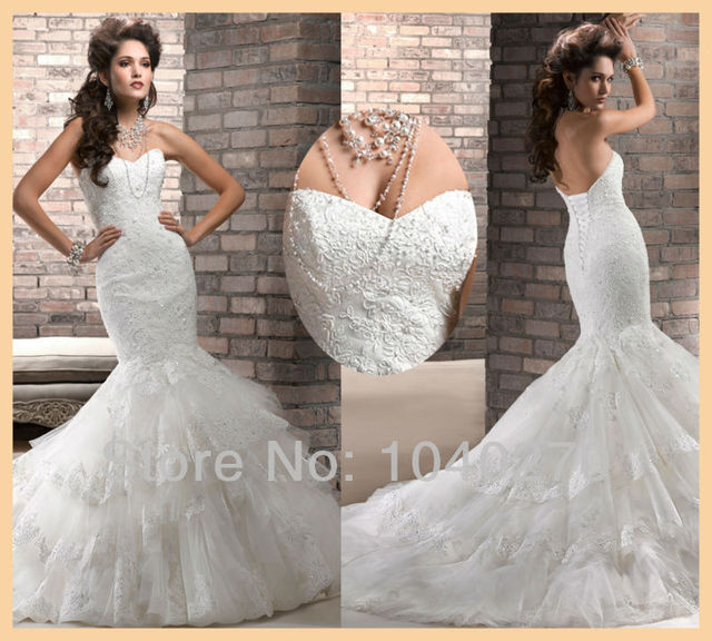 f2bca3284331 Classy Mermaid Floor Length Long Lace Tulle Wedding Dress Fishtail Bridal  Gowns W3644