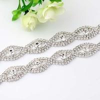 1 Yard Kostuum Applique Clear Crystal Rhinestone Zilveren Gouden Ketting Naaien Strass Banding Bruidstaart Decoratie