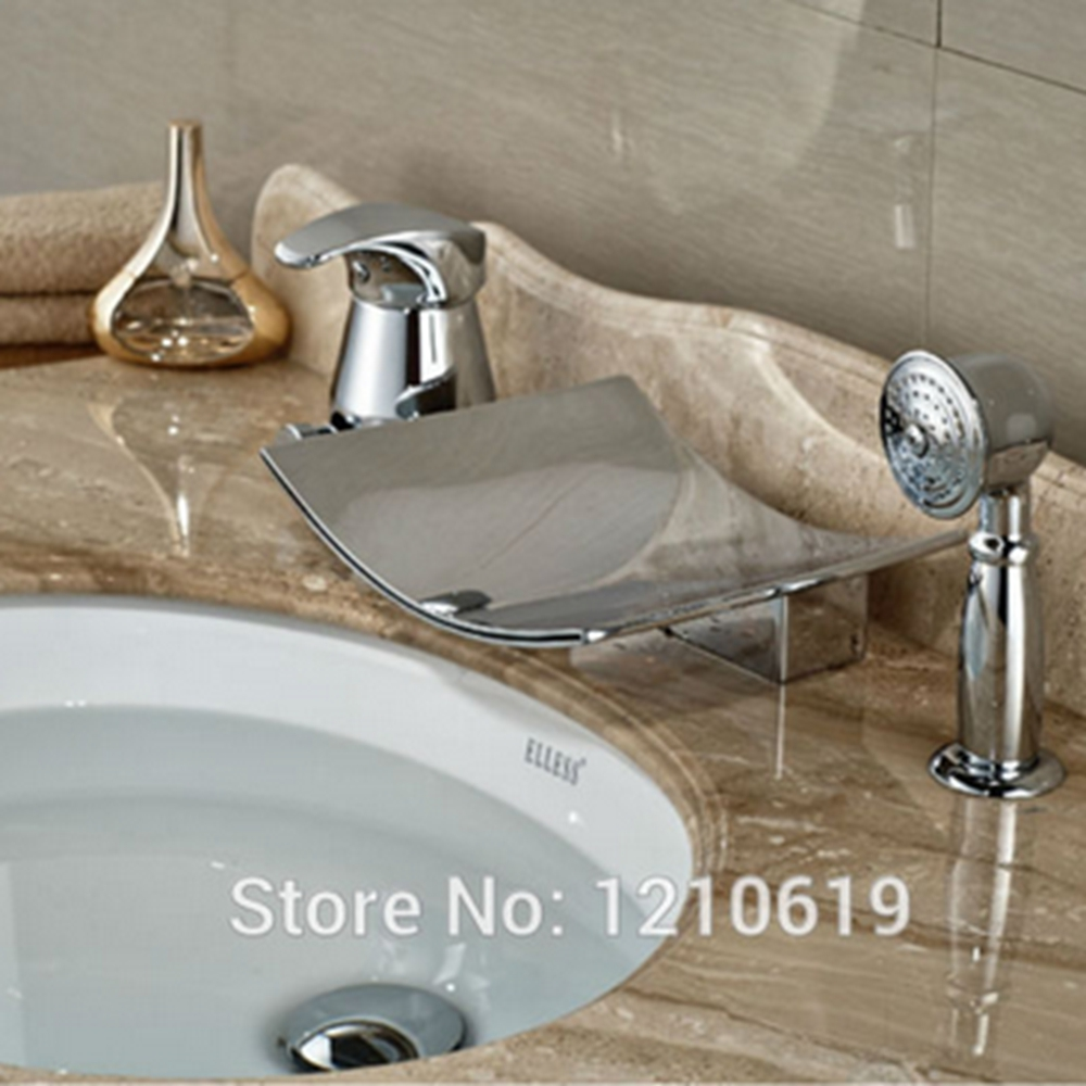 Newly 3Pcs Bathroom Tub Basin Faucet w/ Hand Shower Chrome Finished Bathtub Mixer Faucet Single Handle
