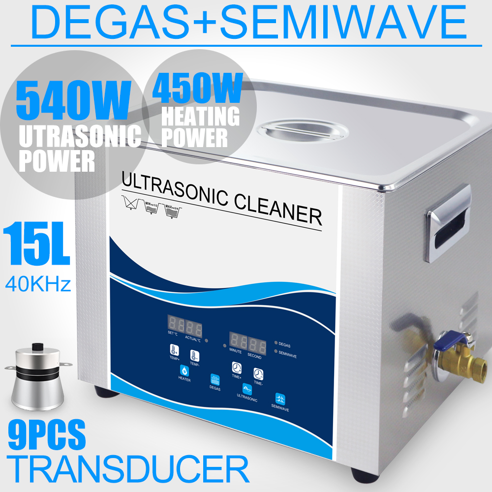 все цены на 15L Digital Ultrasonic Cleaner 540W/270W 360W/180W Transducer Industrial Degas Heater Timer 40Khz Engine Dental Parts Lab Tools онлайн