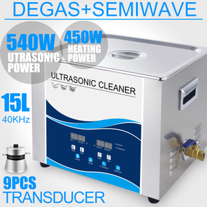 Image 1 - 15L Digital Ultrasonic Cleaner 540W Transducer Industrial Degas Heater Timer 40Khz Engines Dental Parts Laboratory Tools washer