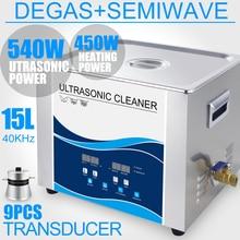 Limpiador ultrasónico Digital de 15L, transductor de 540W, calentador de Degas Industrial, temporizador, 40Khz, motores, partes dentales, herramientas de laboratorio, arandela