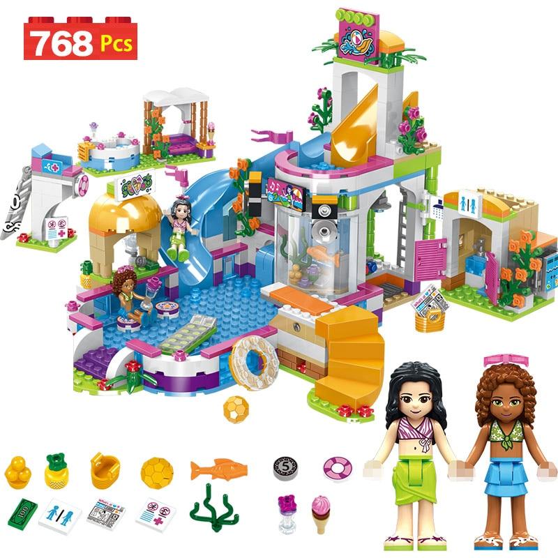 768pcs Girls Building Blocks Swimming Pool Stacking Blocks Compatible LegoING Bricks Figures Kids Toys for Girls