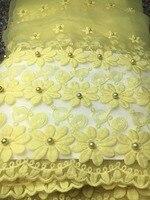 Laatste Kralen Afrikaanse kant stof geel Groothandel Frankrijk zwitserse voile Tule Kant Stof Voor kant Wedding organza Kralen kant