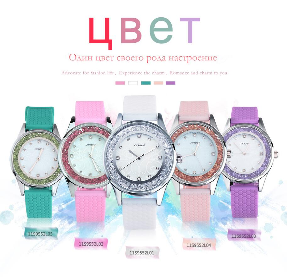 SINOBI Ladies Fashion Wrist Quartz Watch White Silicone Strap Kvinder - Dameure - Foto 6