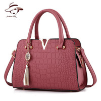 2016 Woman Bag Fashion Designers Famous Brand Bolsas Femininas Casual Bag V Metal Tote Leather Bag