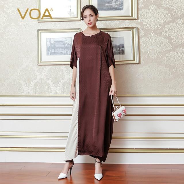 cb5cae02cb45 VOA 2018 Summer Coffee Short Sleeve Casual Splicing Long Dress Plus Size  Loose Leisure Elegant O-neck Women Maxi Dress A7066