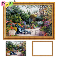 DPF Diamond Embroidery With Frame Scenery 3d Diamond Painting Cross Stitch Garden Full Round Diamond Mosaic