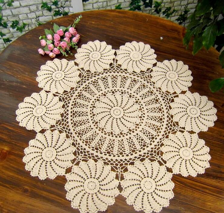 Handmade Crochet Flowers Rotating Circular Hollow Woven Tablecloths Doilies Pastoral Coffee Table Cloth China