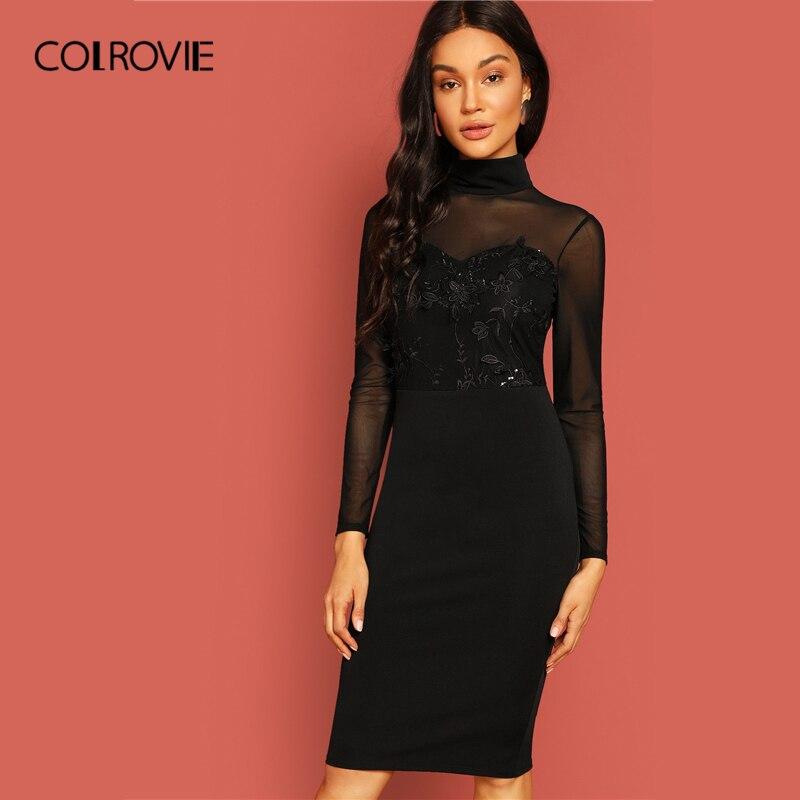 d7e380555b883 COLROVIE Siyah Katı Yüksek Boyun Işlemeli Örgü Sevgiliye Vintage Elbise  Kadın 2019 Uzun Kollu Kalem Zarif Bayanlar Midi Elbise