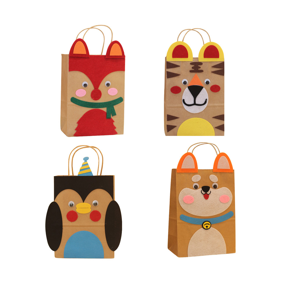 4pcs/set Children DIY Handmade Paper Bag Toys/ Kids Cartoon Animal Bag For Kindergarden School Educational Toys Free Shipping
